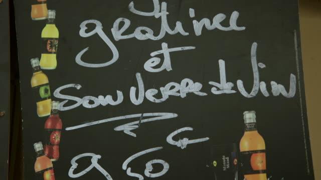 CU TD Menu board outside of cafe / Paris, France