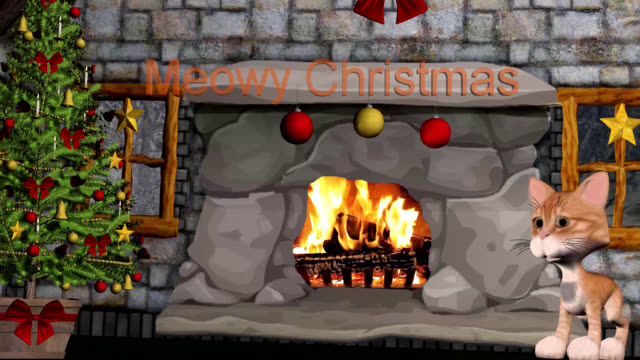 meowy christmas with cartoon kitty - fireplace stock videos & royalty-free footage