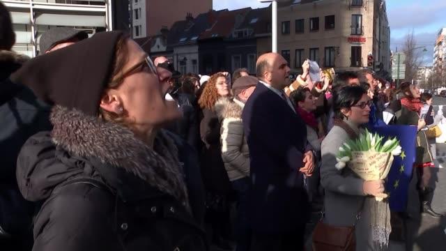stockvideo's en b-roll-footage met meps call for resignation of maltese prime minister joseph mooscat as murder investigation intensifies belgium brussels maltese embassy ext gv... - crime and murder