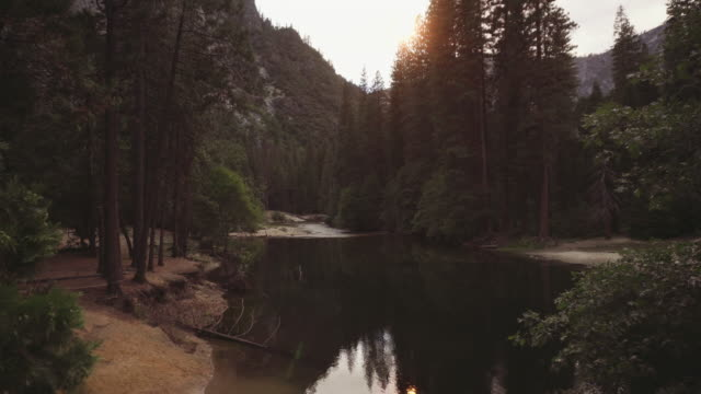 merced river warmed by wildfire smoke at yosemite national park, california - merced river stock videos & royalty-free footage