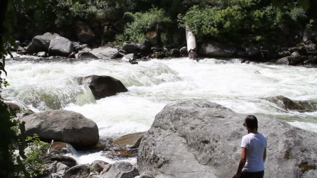merced river with young attract model - merced river stock videos & royalty-free footage