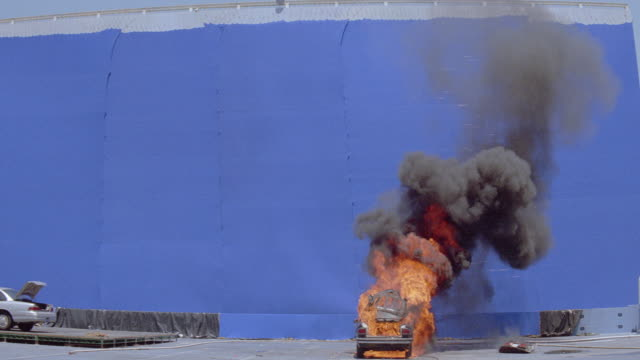 a mercedes car explodes in front of a blue screen. - 2003 stock videos & royalty-free footage