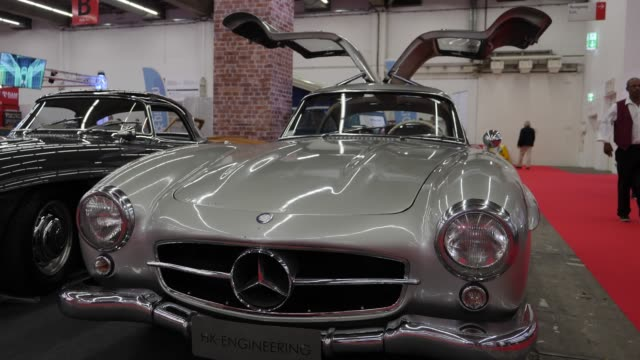 mercedes-benz 300 sl coupe stands on display at the 2019 iaa frankfurt auto show on september 11, 2019 in frankfurt am main, germany. the iaa will be... - ベンツ点の映像素材/bロール