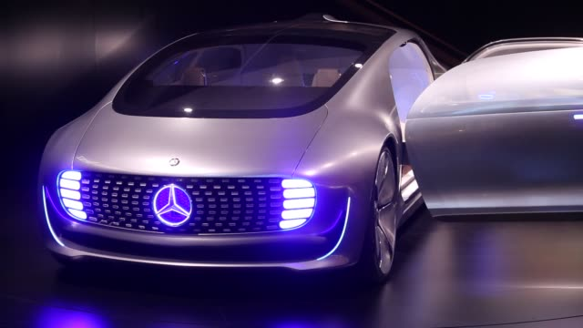 A MercedesBenz F 015 autmobile sits on display at the IAA Frankfurt Motor Show in Frankfurt Germany on Tuesday Sept 15 2015 Shots Close up shots of a...