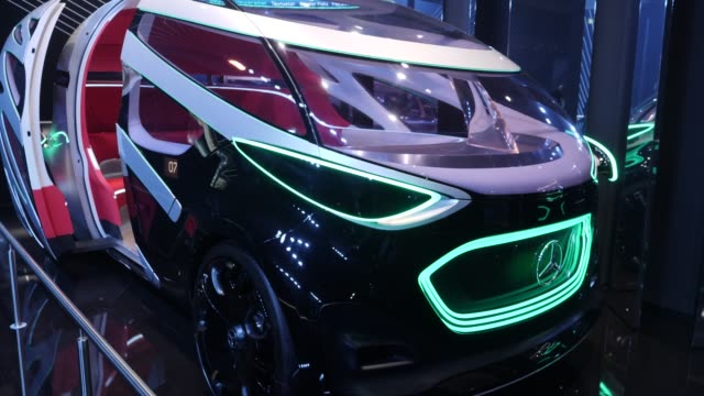 mercedes-benz vision urbanetic autonomous electric passenger car stands on display at the company's booth at the 2019 iaa frankfurt auto show on... - ベンツ点の映像素材/bロール
