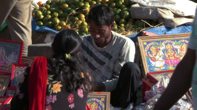 merchandise at a market in a nepali village. - citrus fruit stock videos & royalty-free footage