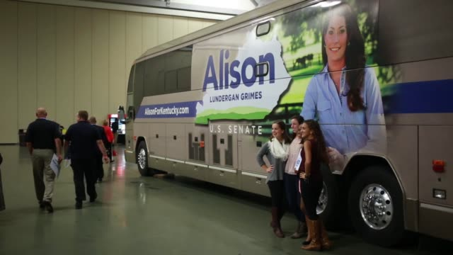 Merchandise for Kentucky Democratic candidate Alison Lundergan Grimes hangs at a campaign event in Louisville Kentucky US on Wednesday Oct 15 2014...