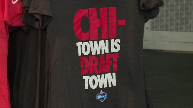 WGN Merchandise for Sale on Display at NFL Draft Day in Chicago on April 27 2016
