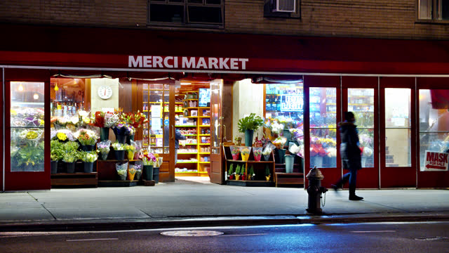 merci market. night. shop. flower. manhattan - editorial stock videos & royalty-free footage