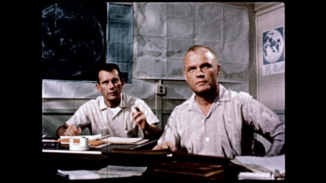 mercury 7 program astronauts in training classroom / cu john glenn / l gordon cooper pointing on january 01 1961 - 1961 stock videos & royalty-free footage