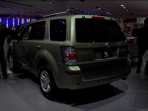 mercury mariner hybrid front end / rear driver side three-quarter view / to mariner paint color chart 2009 mercury mariner hybrid montage at cobo... - three quarter length stock videos & royalty-free footage
