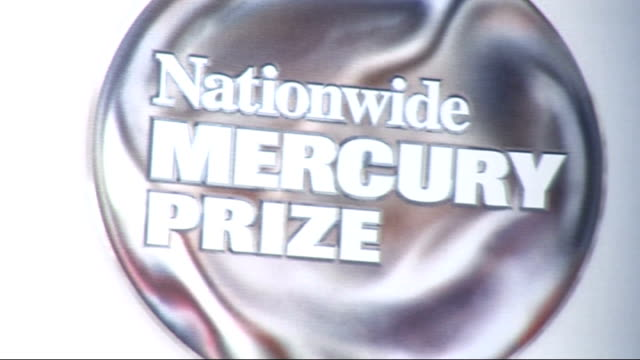 mercury music prize nominations: reactions; england: london: int 'nationwide mercury prize' on backdrop at press conference to announce nominations - mercury music prize stock-videos und b-roll-filmmaterial