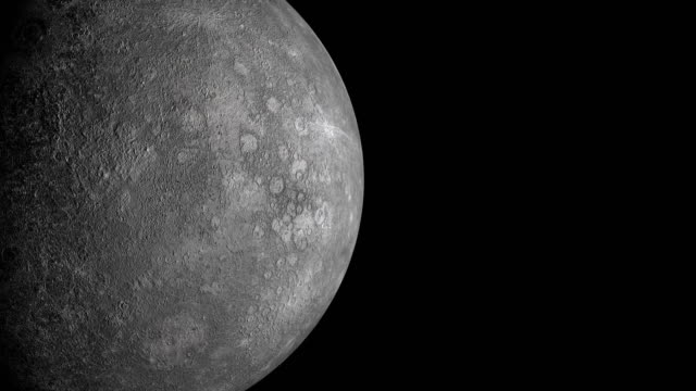 mercury planet rotation with night side, elements of this footage is furnished by nasa - solar system stock videos & royalty-free footage