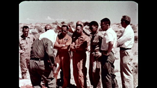 mercury program astronauts training in classroom and conducting survival training in the desert at stead air force base on july 01, 1960 in reno,... - alan b. shepard jr stock videos & royalty-free footage