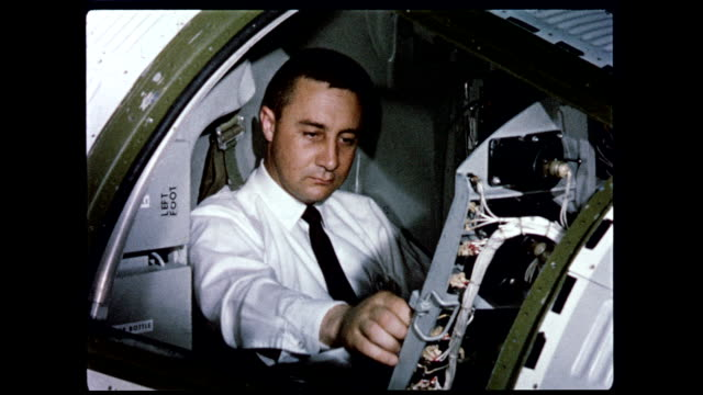 mercury program astronauts, wearing civilian clothes, sit in mercury capsules / virgil 'gus' grissom, scott carpenter, walter schirra, jr., john... - 1961 stock videos & royalty-free footage