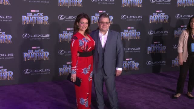 Meredith Salenger and Patton Oswalt at the Marvel Studios' 'Black Panther' World Premiere at Dolby Theatre on January 29 2018 in Hollywood California