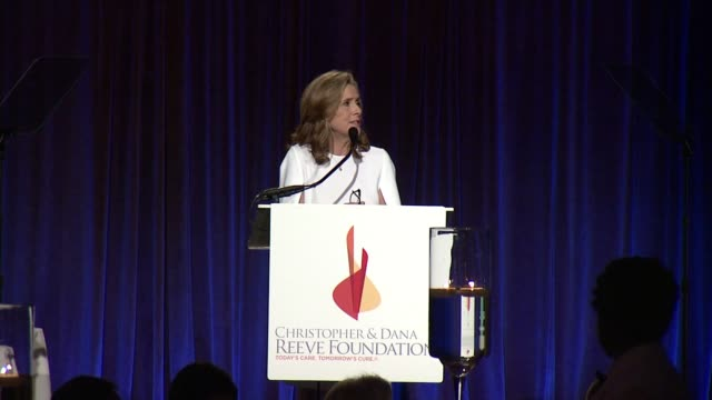 speech meredith vieira addresses the audience and talks about various attendees at the christopher dana reeve foundation hosts 25th anniversary a... - christopher and dana reeve foundation stock videos and b-roll footage