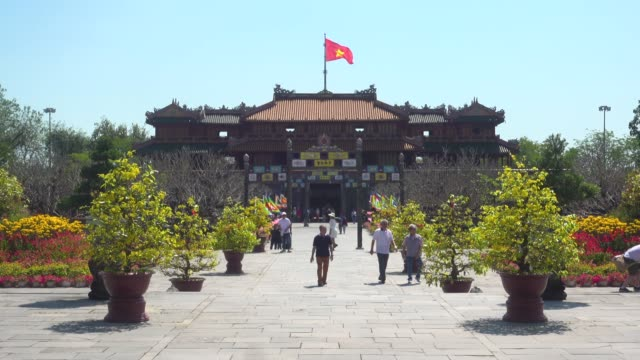 meridian gate of hue imperial city citadel. hoàng thành - fortress stock videos & royalty-free footage