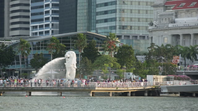 ms merlion fountain on marina bay in singapore - merlion fictional character stock videos and b-roll footage