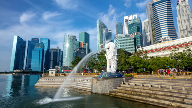merlion park and the lion head fountain, singapore - singapore stock videos & royalty-free footage