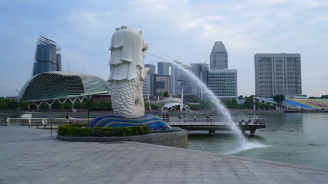 merlion statue, singapore - merlion fictional character stock videos and b-roll footage
