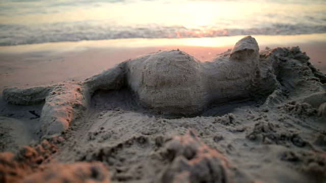 mermaid made of sand on the beach - mythology stock videos & royalty-free footage