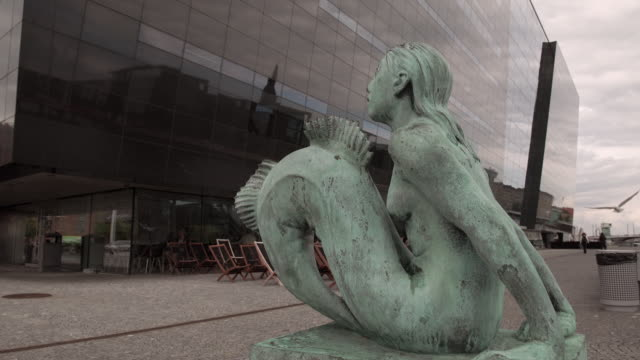 Mermaid Statue Outside of The Royal Library in Copenhagen