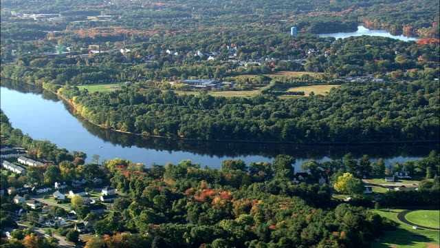 merrimack river near tyngsboro  - aerial view - massachusetts,  middlesex county,  united states - massachusetts stock videos & royalty-free footage