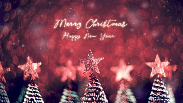 merry christmas and happy new year over xmas tree on red glitter sparkling lights festive swirly bokeh background.holiday greeting card.closeup top of pine tree - new year card stock videos & royalty-free footage