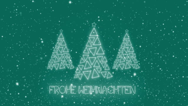 4k frohe weihnachten animation - led christmas trees - deutsche kultur stock-videos und b-roll-filmmaterial