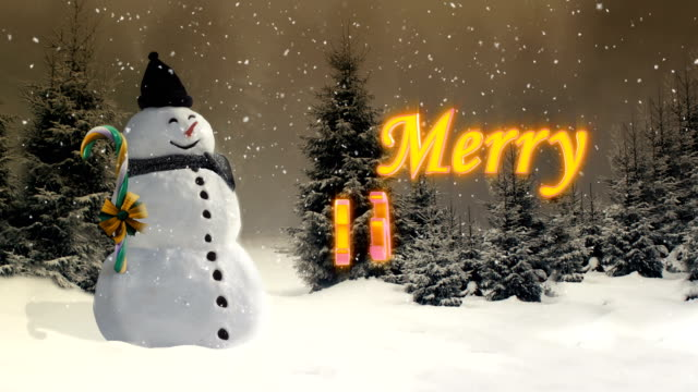 Merry christmas animation with snowman in the forest