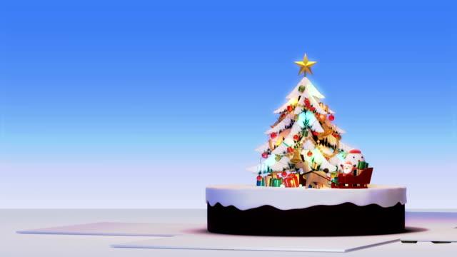 frohe weihnachten, weihnachtsbaum hintergrund, dekoriert xmas baum mit geschenk-boxen und weihnachtsmann glücklich und hirsche, animierte abstrakte weihnachten geschenk gruß karte, 4k schleife - weihnachtsmann schlitten stock-videos und b-roll-filmmaterial