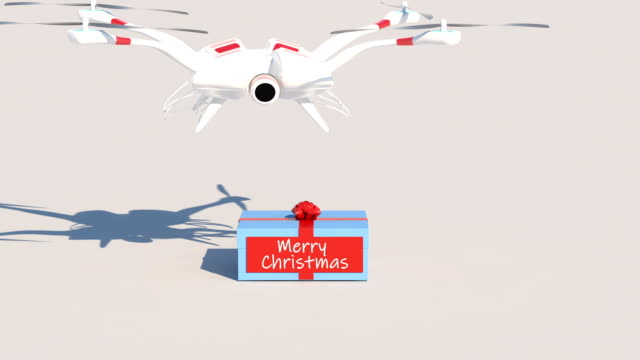 Merry Christmas Gift Drone Animation
