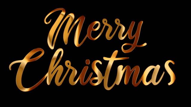 vídeos y material grabado en eventos de stock de feliz navidad texto de oro. caligrafía de letras a mano con canal alfa. - texto