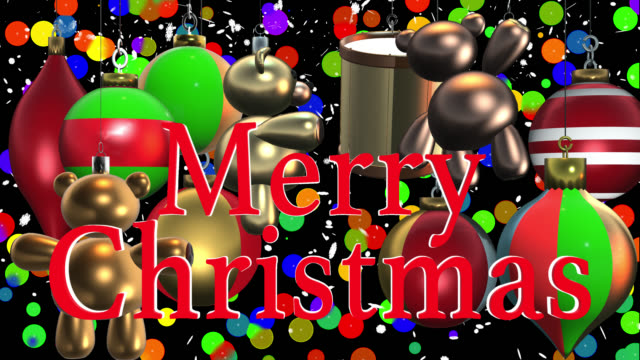 Merry Christmas greeting with Christmas decorations and alpha channel