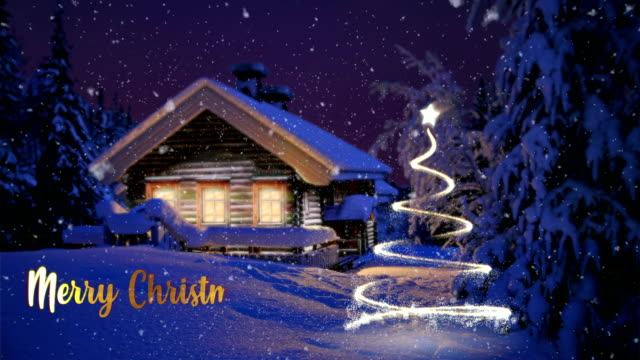 merry christmas house and digital tree - christmas card stock videos & royalty-free footage
