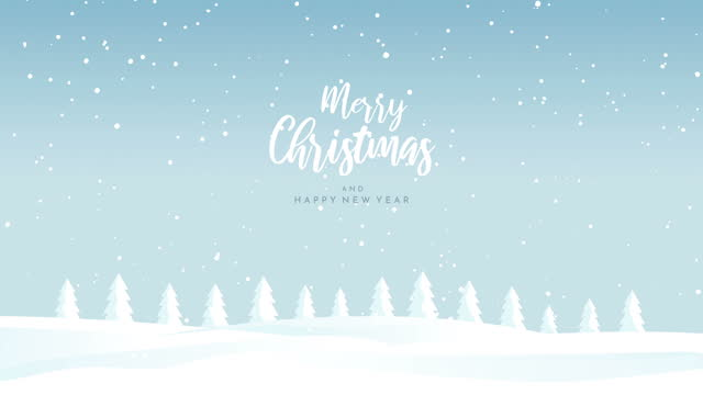 merry christmas landscape with falling snow animation - non urban scene stock videos & royalty-free footage