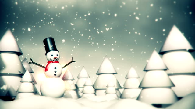 merry christmas snowman animation - loop - december stock videos and b-roll footage