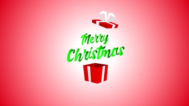 ギフト ボックスからメリー クリスマス テキストを明らかに - クリスマスカード点の映像素材/bロール