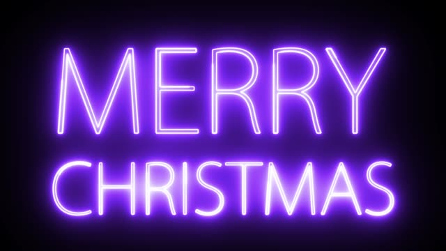 merry christmas text with neon light style. - glowing stock videos & royalty-free footage