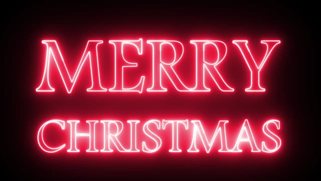merry christmas text with neon light style. - sign stock videos & royalty-free footage