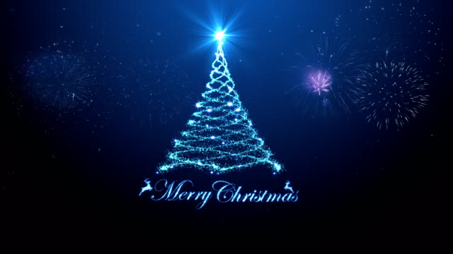 merry christmas tree background with fireworks blue background - christmas card stock videos & royalty-free footage