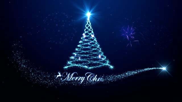 花火青い背景を持つメリークリスマスツリーの背景 - クリスマスカード点の映像素材/bロール