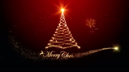 Merry christmas tree background with fireworks red background