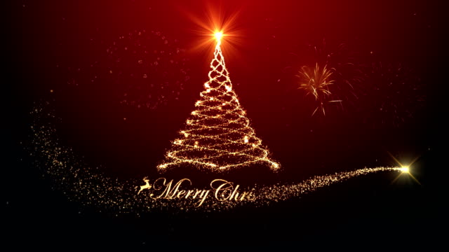 merry christmas tree background with fireworks red background - christmas tree stock videos & royalty-free footage
