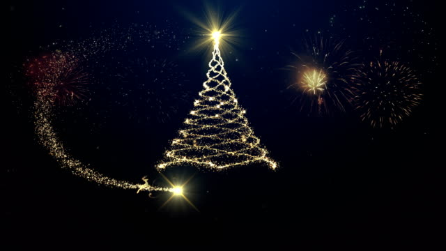 merry christmas tree background with fireworks - christmas card stock videos & royalty-free footage