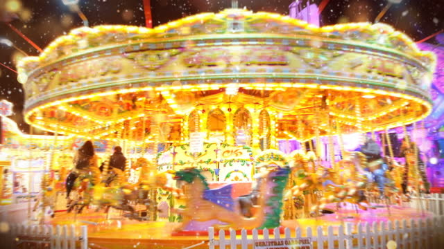 merry-go-round in amusement park, carousel roundabout video - 10 seconds or greater stock videos & royalty-free footage