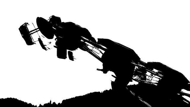 hd: merry-go-round silhouetten in b & w - kindertag stock-videos und b-roll-filmmaterial