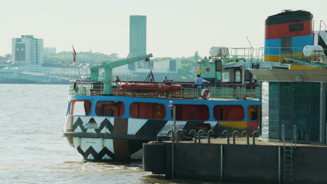 mersey ferry docks at pier head, liverpool - mersey ferry stock videos & royalty-free footage