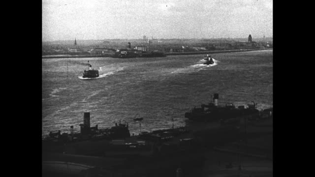 mersey river with two ferries crossing between liverpool and birkenhead / illustration of automobile tunnel between liverpool and birkenhead, words... - mersey ferry stock videos & royalty-free footage